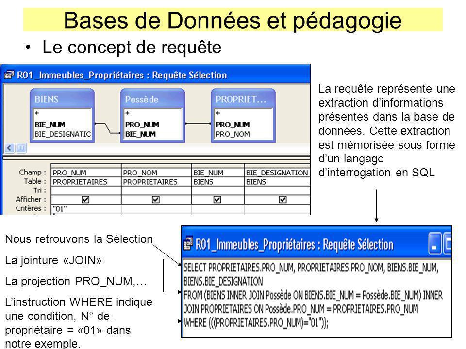 Bases de Données et pédagogie Le concept de requête La requête représente une extraction dinformations présentes dans la base de données. Cette extrac