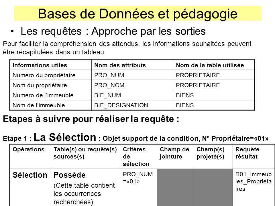 Bases de Données et pédagogie Les requêtes : Approche par les sorties Informations utilesNom des attributsNom de la table utilisée Numéro du propriéta