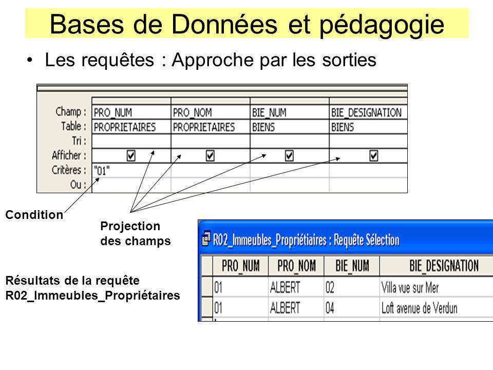 Bases de Données et pédagogie Les requêtes : Approche par les sorties Projection des champs Résultats de la requête R02_Immeubles_Propriétaires Condit