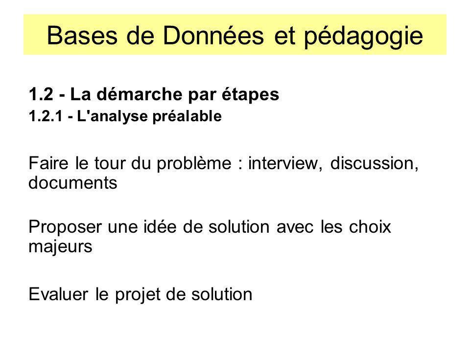Bases de Données et pédagogie 1.2 - La démarche par étapes 1.2.1 - L'analyse préalable Faire le tour du problème : interview, discussion, documents Pr