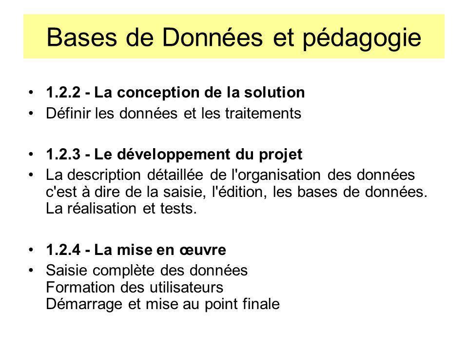 Bases de Données et pédagogie 1.3 Les différents niveaux danalyse Conception 1 : Le niveau conceptuel : le MCD La solution est définie de manière abstraite par un modèle conceptuel : le modèle entité-association appelé aussi modèle relationnel.