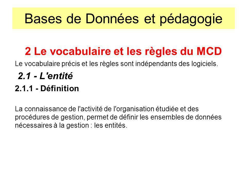 Bases de Données et pédagogie 2 Le vocabulaire et les règles du MCD Le vocabulaire précis et les règles sont indépendants des logiciels. 2.1 - L'entit