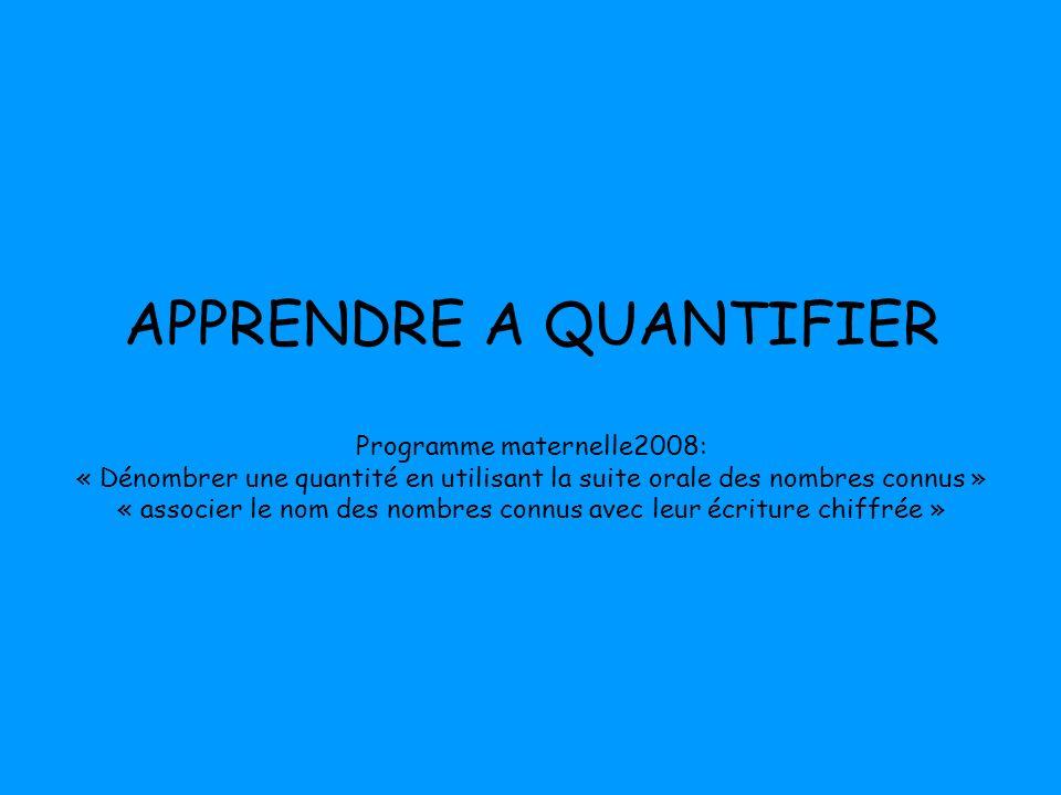 APPRENDRE A QUANTIFIER Programme maternelle2008: « Dénombrer une quantité en utilisant la suite orale des nombres connus » « associer le nom des nombr