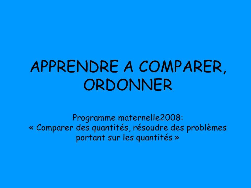 APPRENDRE A COMPARER, ORDONNER Programme maternelle2008: « Comparer des quantités, résoudre des problèmes portant sur les quantités »