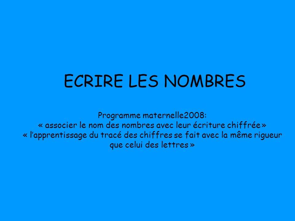 ECRIRE LES NOMBRES Programme maternelle2008: « associer le nom des nombres avec leur écriture chiffrée » « lapprentissage du tracé des chiffres se fai