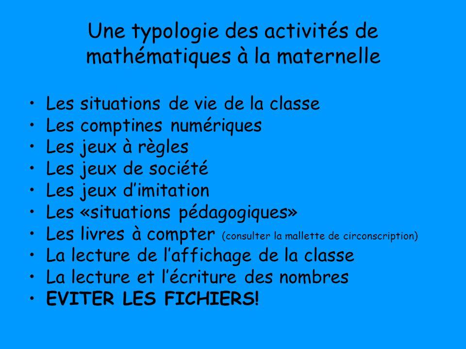 Une typologie des activités de mathématiques à la maternelle Les situations de vie de la classe Les comptines numériques Les jeux à règles Les jeux de