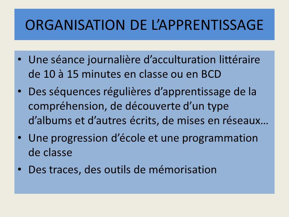 ORGANISATION DE LAPPRENTISSAGE Une séance journalière dacculturation littéraire de 10 à 15 minutes en classe ou en BCD Des séquences régulières dappre