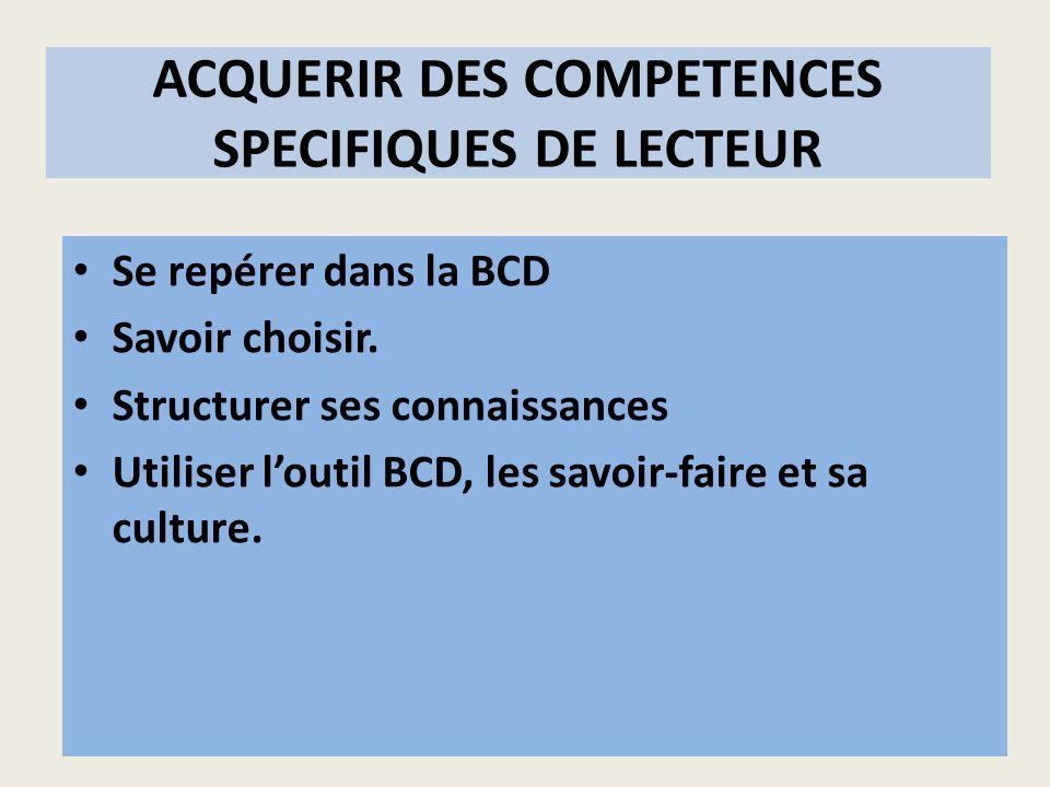 ACQUERIR DES COMPETENCES SPECIFIQUES DE LECTEUR Se repérer dans la BCD Savoir choisir. Structurer ses connaissances Utiliser loutil BCD, les savoir-fa