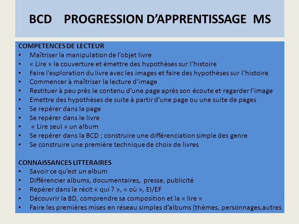 BCD PROGRESSION DAPPRENTISSAGE MS COMPETENCES DE LECTEUR Maîtriser la manipulation de lobjet livre « Lire » la couverture et émettre des hypothèses su