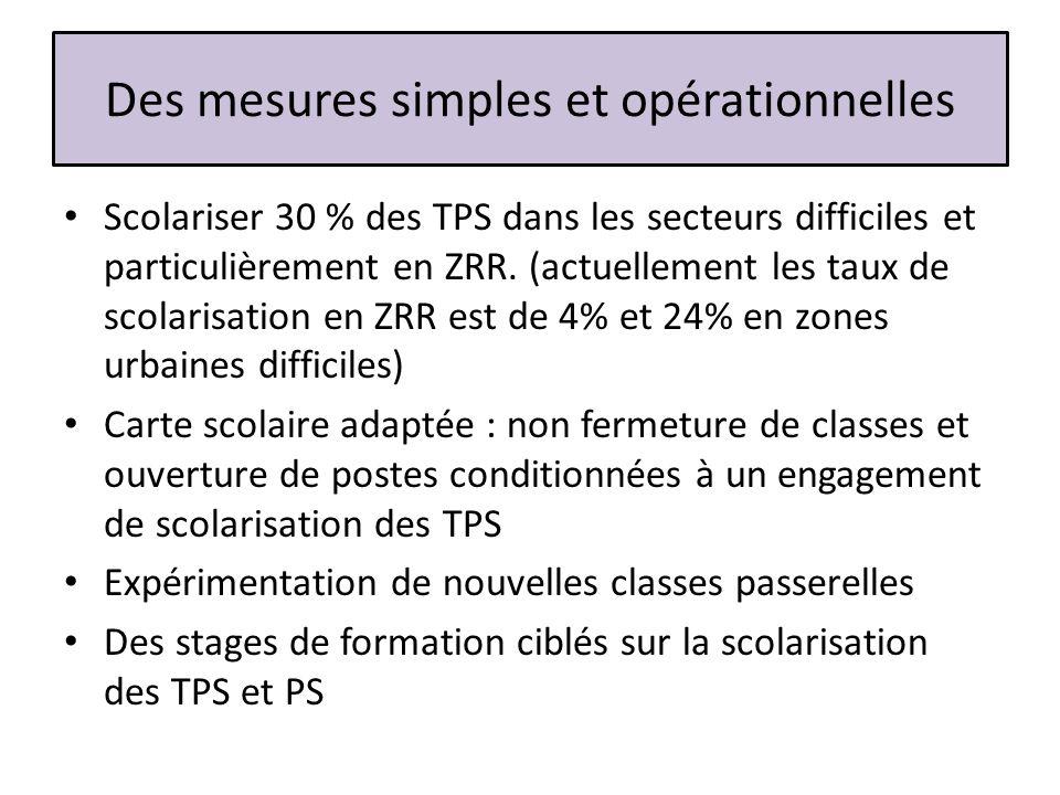 Des mesures simples et opérationnelles Scolariser 30 % des TPS dans les secteurs difficiles et particulièrement en ZRR. (actuellement les taux de scol