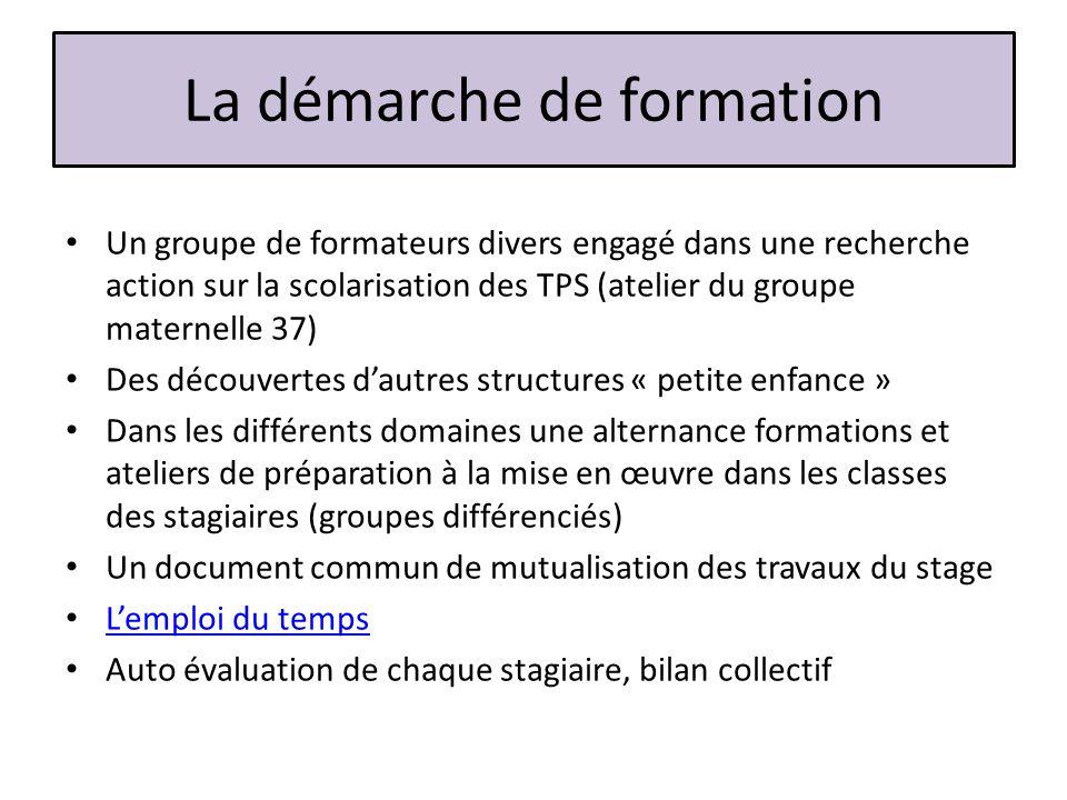 La démarche de formation Un groupe de formateurs divers engagé dans une recherche action sur la scolarisation des TPS (atelier du groupe maternelle 37