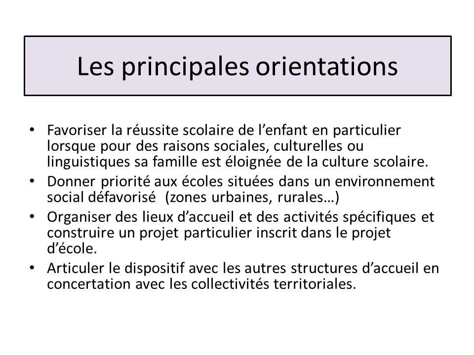 Les principales orientations Favoriser la réussite scolaire de lenfant en particulier lorsque pour des raisons sociales, culturelles ou linguistiques