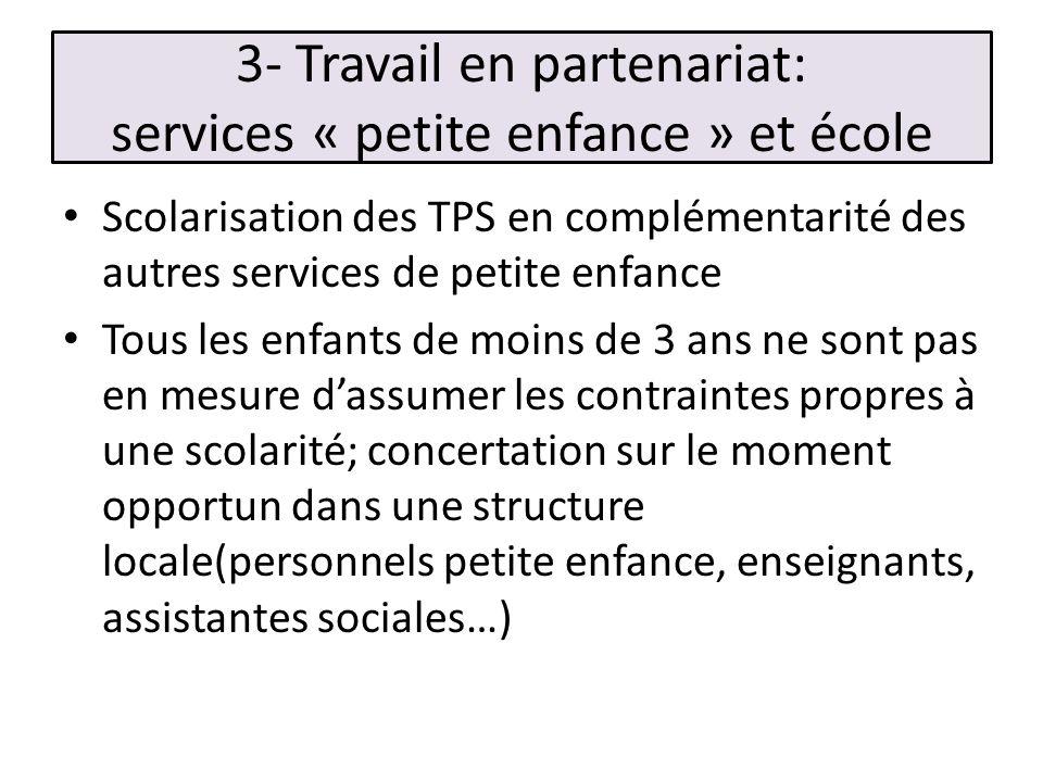 3- Travail en partenariat: services « petite enfance » et école Scolarisation des TPS en complémentarité des autres services de petite enfance Tous le