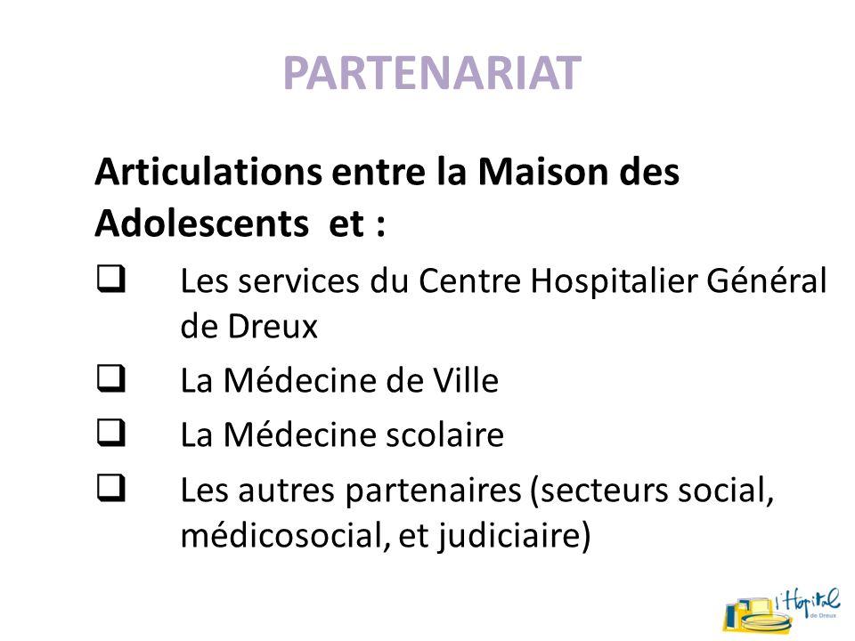PARTENARIAT Articulations entre la Maison des Adolescents et : Les services du Centre Hospitalier Général de Dreux La Médecine de Ville La Médecine sc
