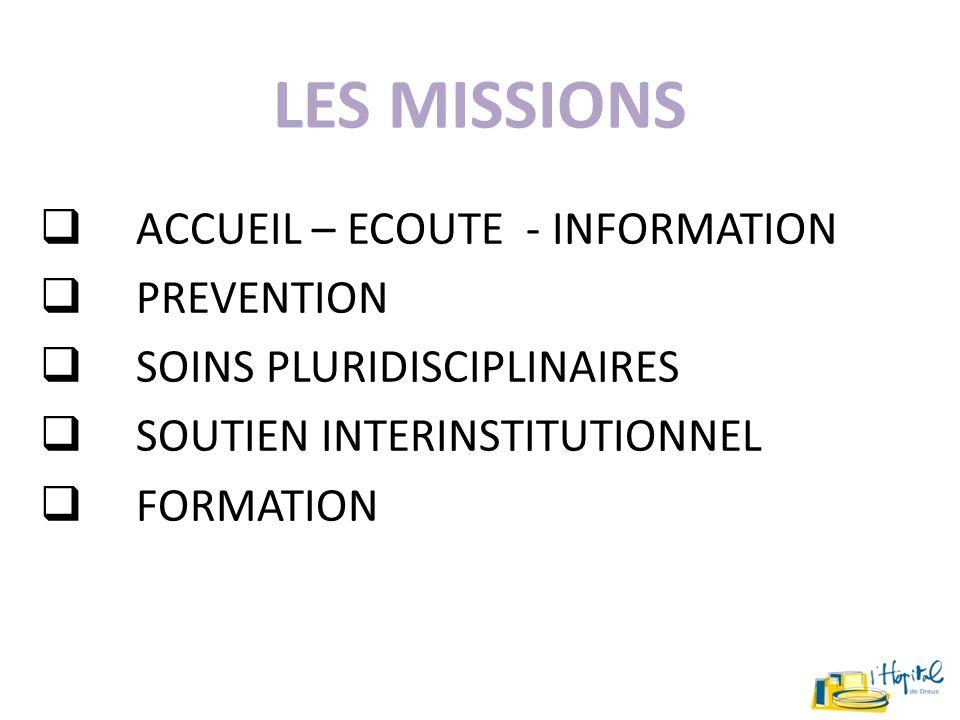 LES MISSIONS ACCUEIL – ECOUTE - INFORMATION PREVENTION SOINS PLURIDISCIPLINAIRES SOUTIEN INTERINSTITUTIONNEL FORMATION