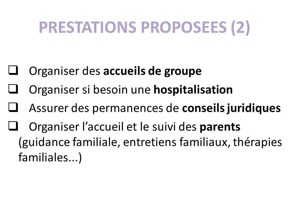 PRESTATIONS PROPOSEES (2) Organiser des accueils de groupe Organiser si besoin une hospitalisation Assurer des permanences de conseils juridiques Orga
