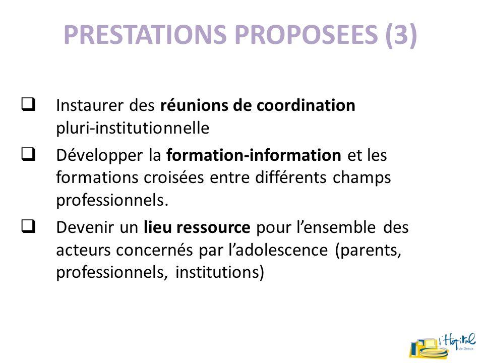 PRESTATIONS PROPOSEES (3) Instaurer des réunions de coordination pluri-institutionnelle Développer la formation-information et les formations croisées