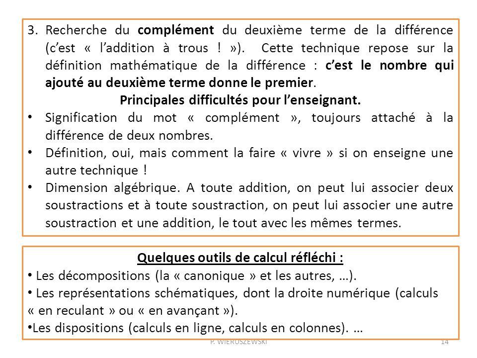 P. WIERUSZEWSKI14 3.Recherche du complément du deuxième terme de la différence (cest « laddition à trous ! »). Cette technique repose sur la définitio