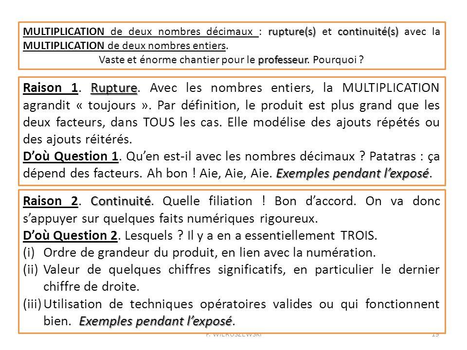 P. WIERUSZEWSKI19 rupture(s)continuité(s) MULTIPLICATION de deux nombres décimaux : rupture(s) et continuité(s) avec la MULTIPLICATION de deux nombres
