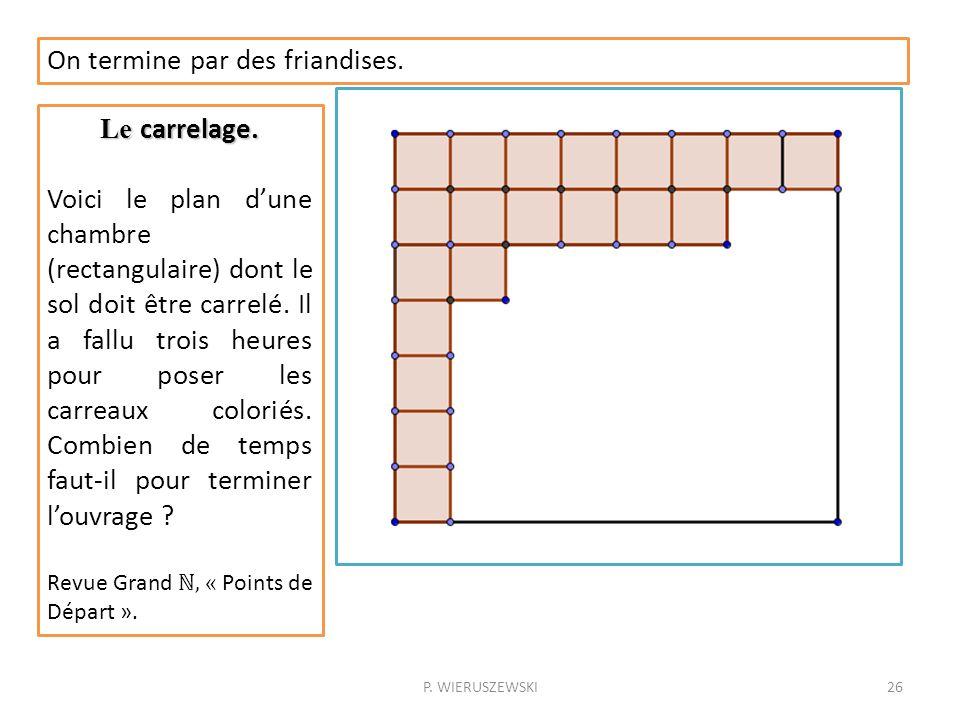 P. WIERUSZEWSKI26 On termine par des friandises. Le carrelage. Voici le plan dune chambre (rectangulaire) dont le sol doit être carrelé. Il a fallu tr