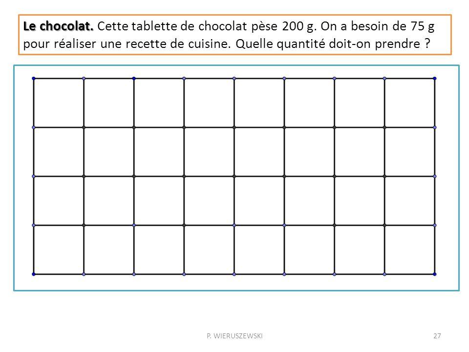 P. WIERUSZEWSKI27 Le chocolat. Le chocolat. Cette tablette de chocolat pèse 200 g. On a besoin de 75 g pour réaliser une recette de cuisine. Quelle qu