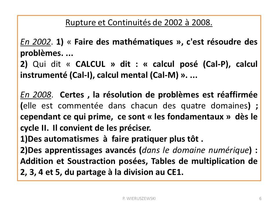P. WIERUSZEWSKI6 Rupture et Continuités de 2002 à 2008. En 2002. 1) « Faire des mathématiques », c'est résoudre des problèmes.... 2) Qui dit « CALCUL