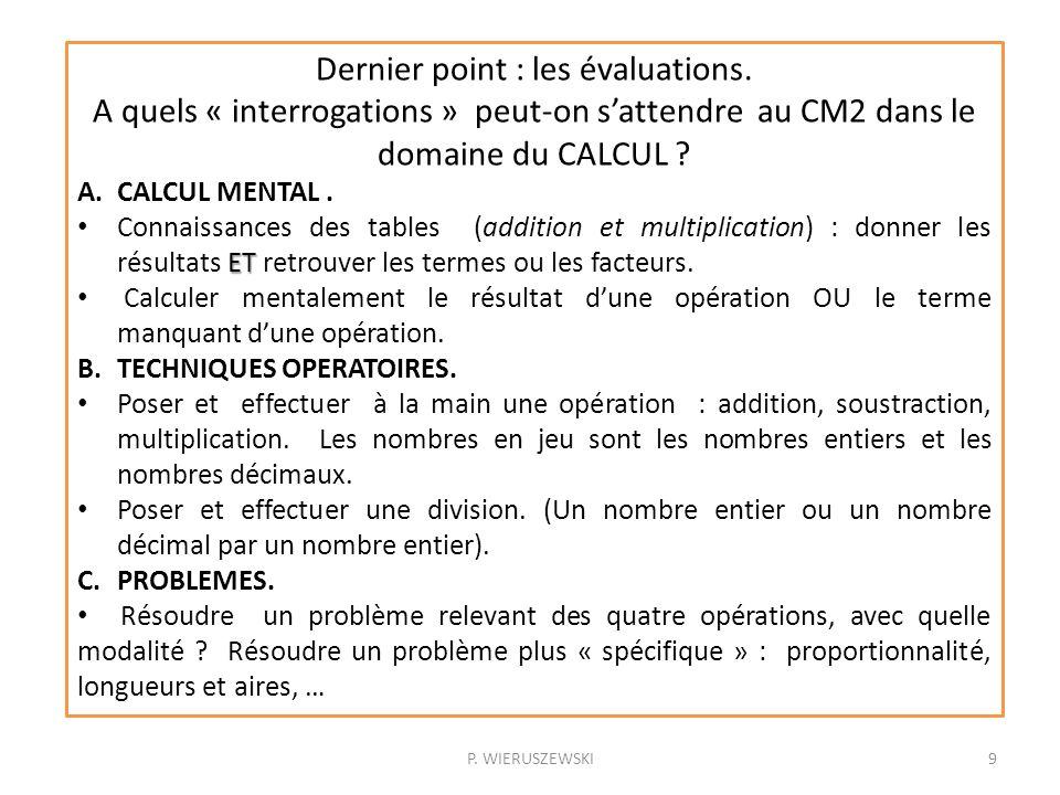 P. WIERUSZEWSKI9 Dernier point : les évaluations. A quels « interrogations » peut-on sattendre au CM2 dans le domaine du CALCUL ? A.CALCUL MENTAL. ET