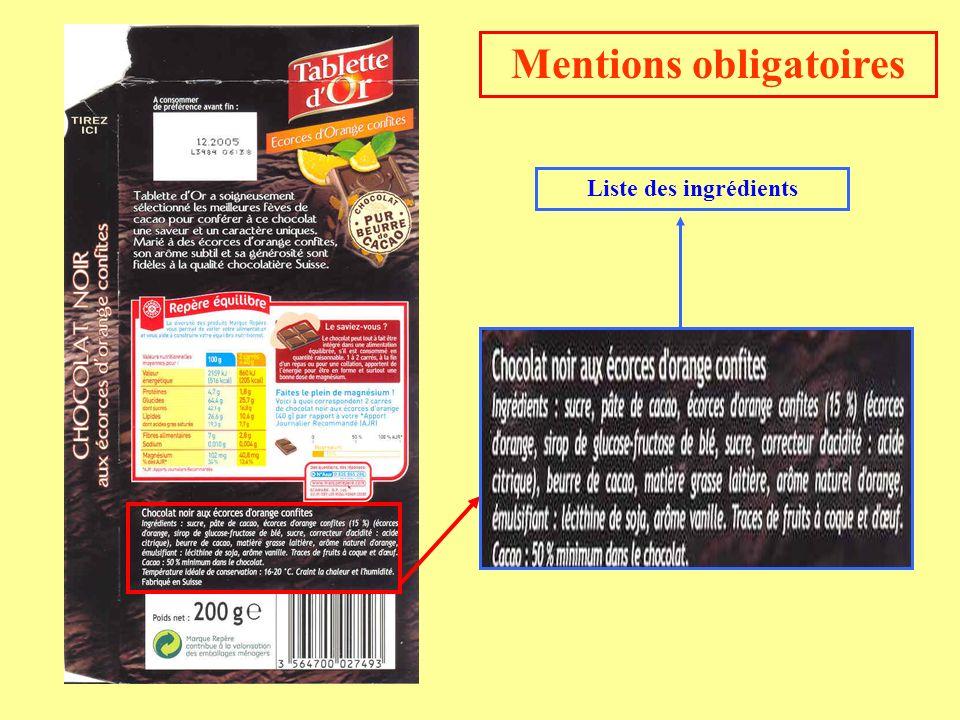 Mentions obligatoires Liste des ingrédients
