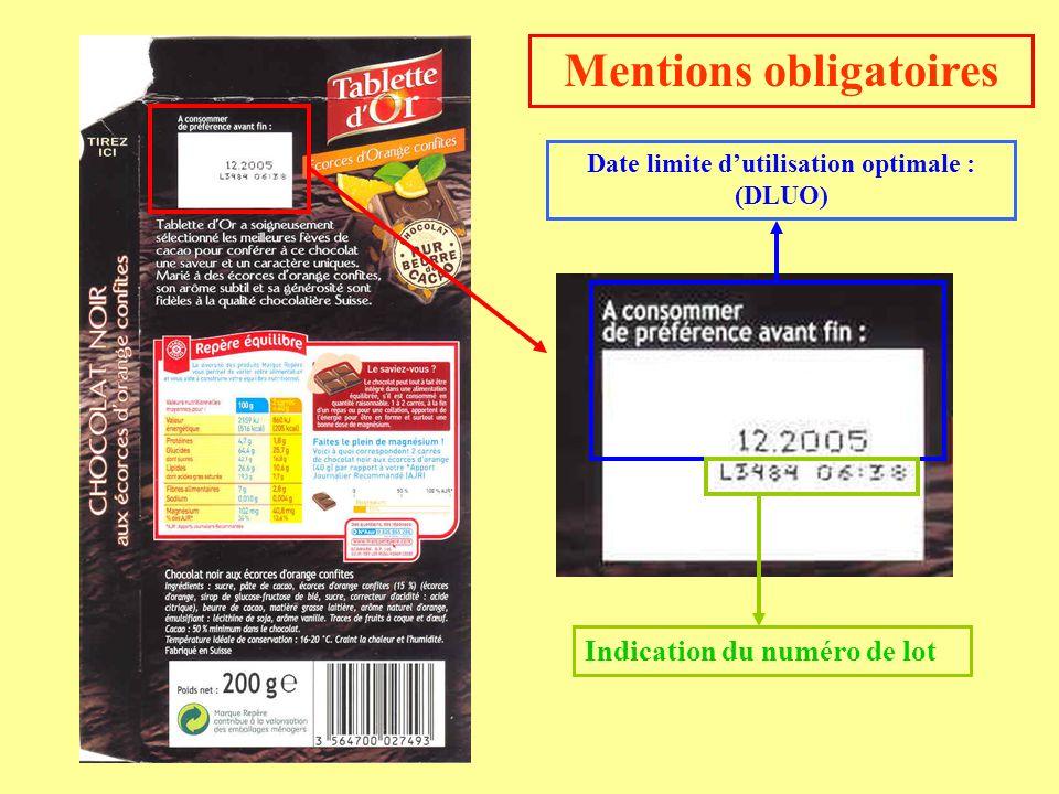 Date limite dutilisation optimale : (DLUO) Indication du numéro de lot Mentions obligatoires