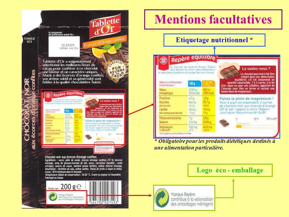 Mentions facultatives Etiquetage nutritionnel * Logo éco - emballage * Obligatoire pour les produits diététiques destinés à une alimentation particuli