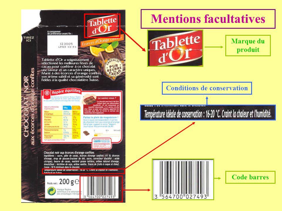 Mentions facultatives Code barres Conditions de conservation Marque du produit