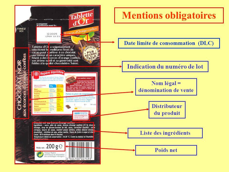 Mentions obligatoires Liste des ingrédients Indication du numéro de lot Date limite de consommation (DLC) Nom légal = dénomination de vente Distribute