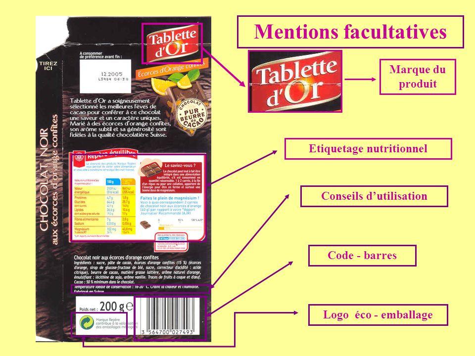 Mentions facultatives Code - barres Conseils dutilisation Etiquetage nutritionnel Logo éco - emballage Marque du produit