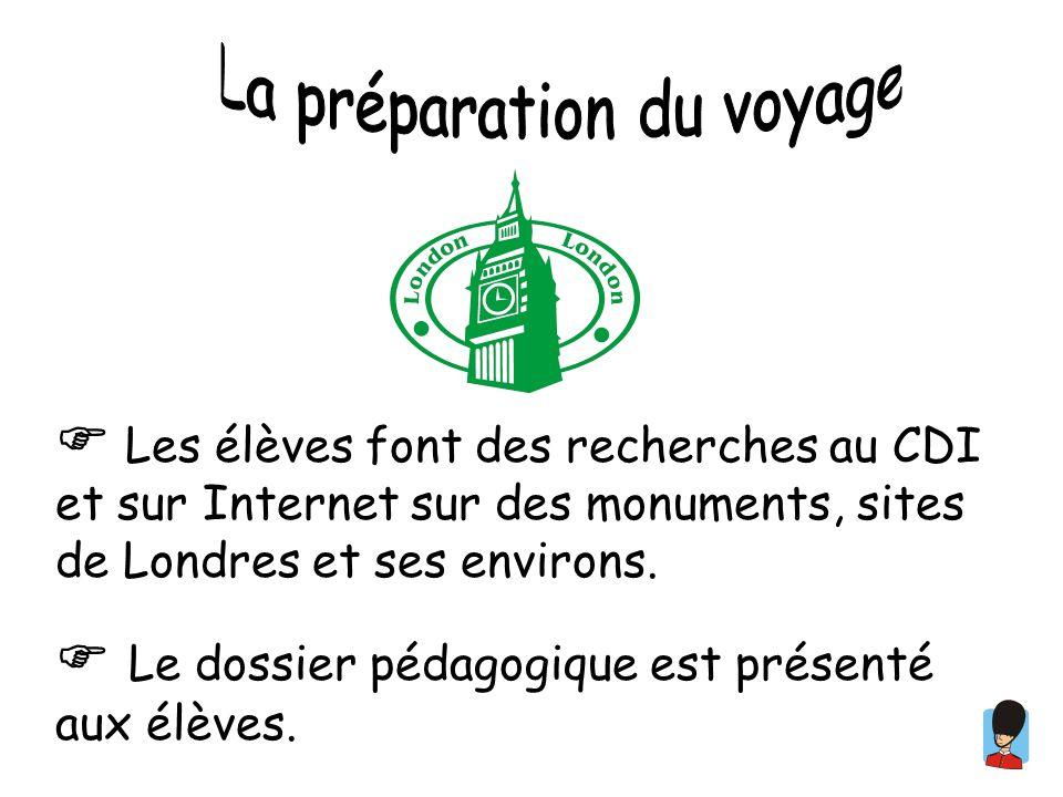 Les élèves font des recherches au CDI et sur Internet sur des monuments, sites de Londres et ses environs. Le dossier pédagogique est présenté aux élè