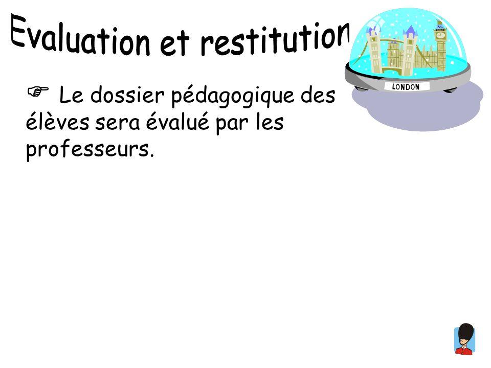 Le dossier pédagogique des élèves sera évalué par les professeurs.