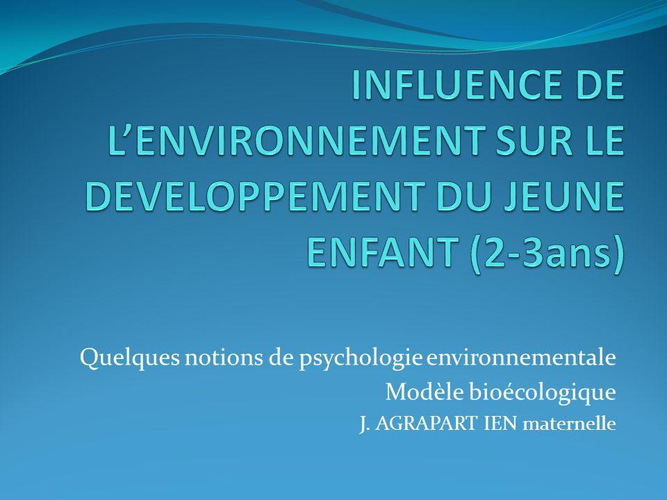 Quelques notions de psychologie environnementale Modèle bioécologique J. AGRAPART IEN maternelle