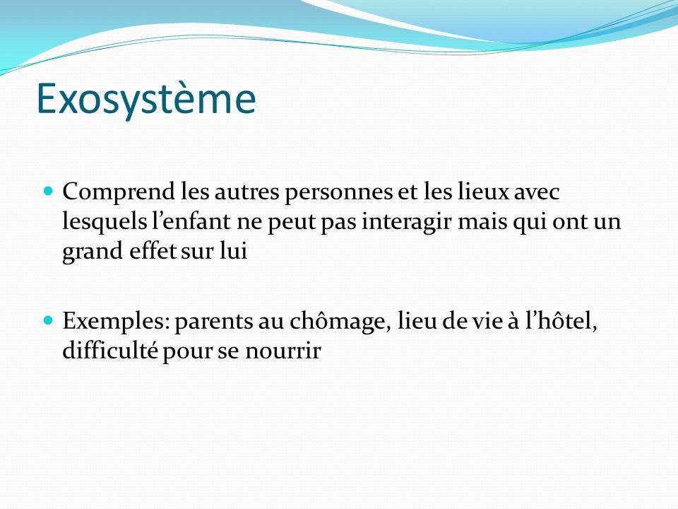 Exosystème Comprend les autres personnes et les lieux avec lesquels lenfant ne peut pas interagir mais qui ont un grand effet sur lui Exemples: parent