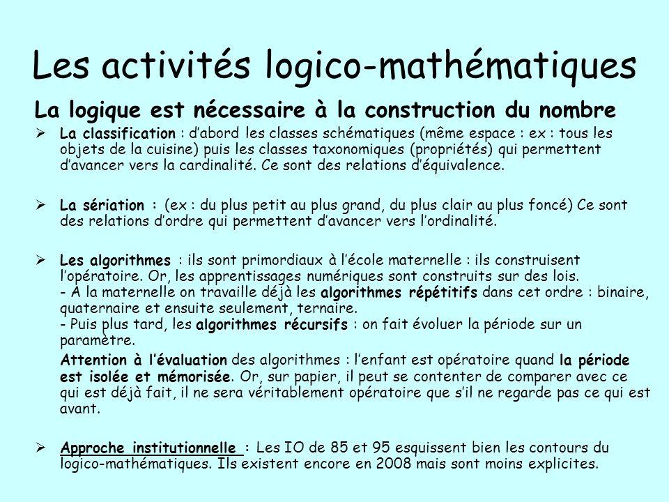 Les activités logico-mathématiques La logique est nécessaire à la construction du nombre La classification : dabord les classes schématiques (même esp