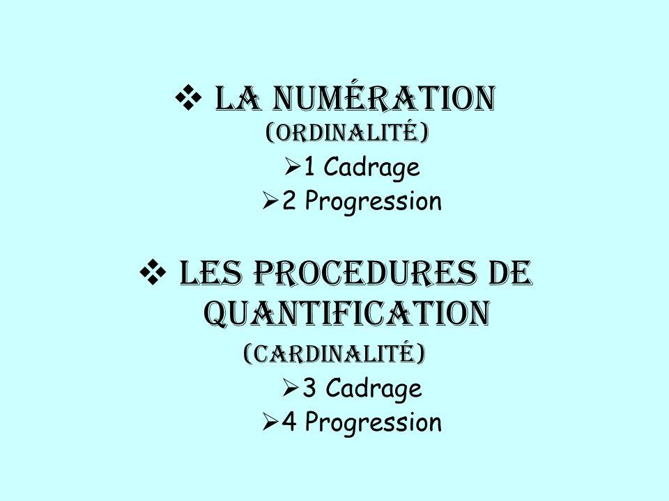 La numération (ordinalité) 1 Cadrage 2 Progression LeS PROCedures de quantification (cardinalité) 3 Cadrage 4 Progression