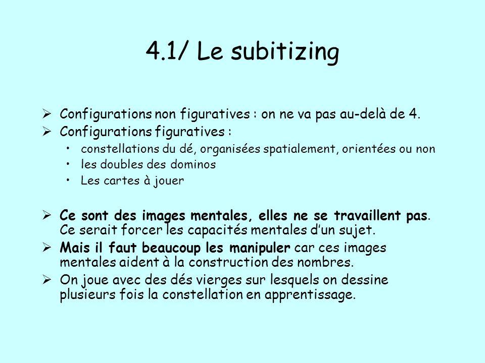 4.1/ Le subitizing Configurations non figuratives : on ne va pas au-delà de 4. Configurations figuratives : constellations du dé, organisées spatialem