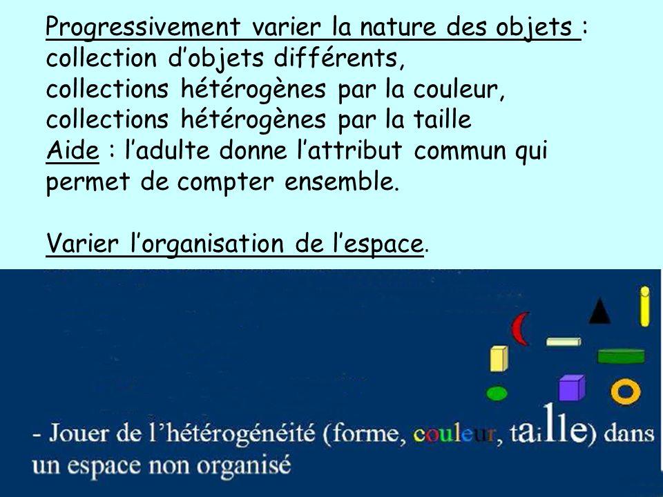 Progressivement varier la nature des objets : collection dobjets différents, collections hétérogènes par la couleur, collections hétérogènes par la ta