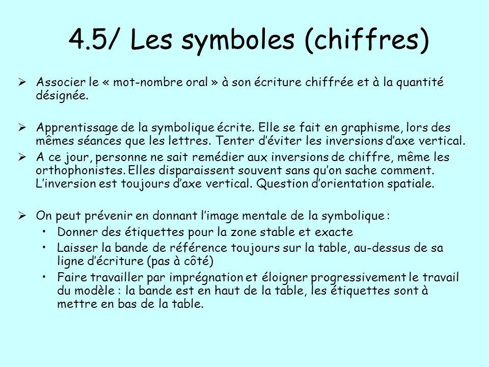 4.5/ Les symboles (chiffres) Associer le « mot-nombre oral » à son écriture chiffrée et à la quantité désignée. Apprentissage de la symbolique écrite.