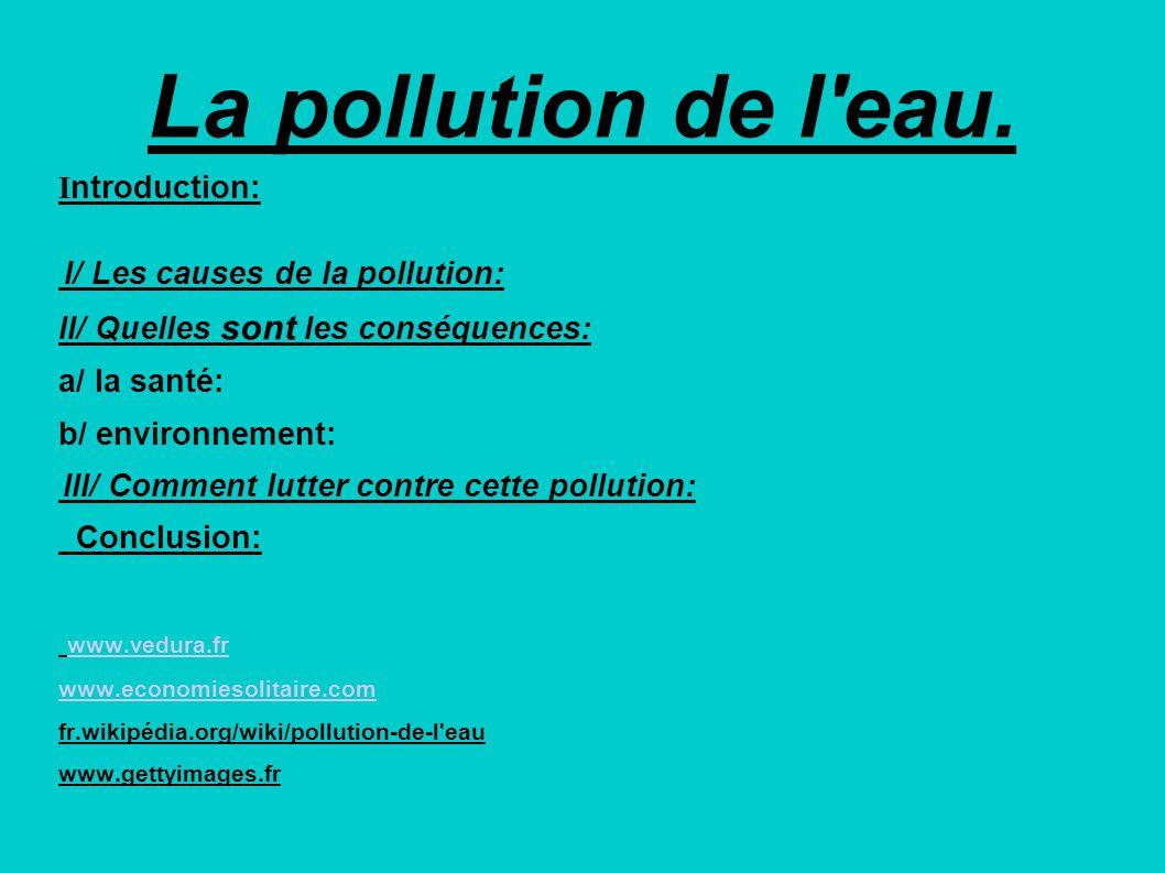 La pollution de l'eau. I ntroduction: I/ Les causes de la pollution: II/ Quelles sont les conséquences: a/ la santé: b/ environnement: III/ Comment lu