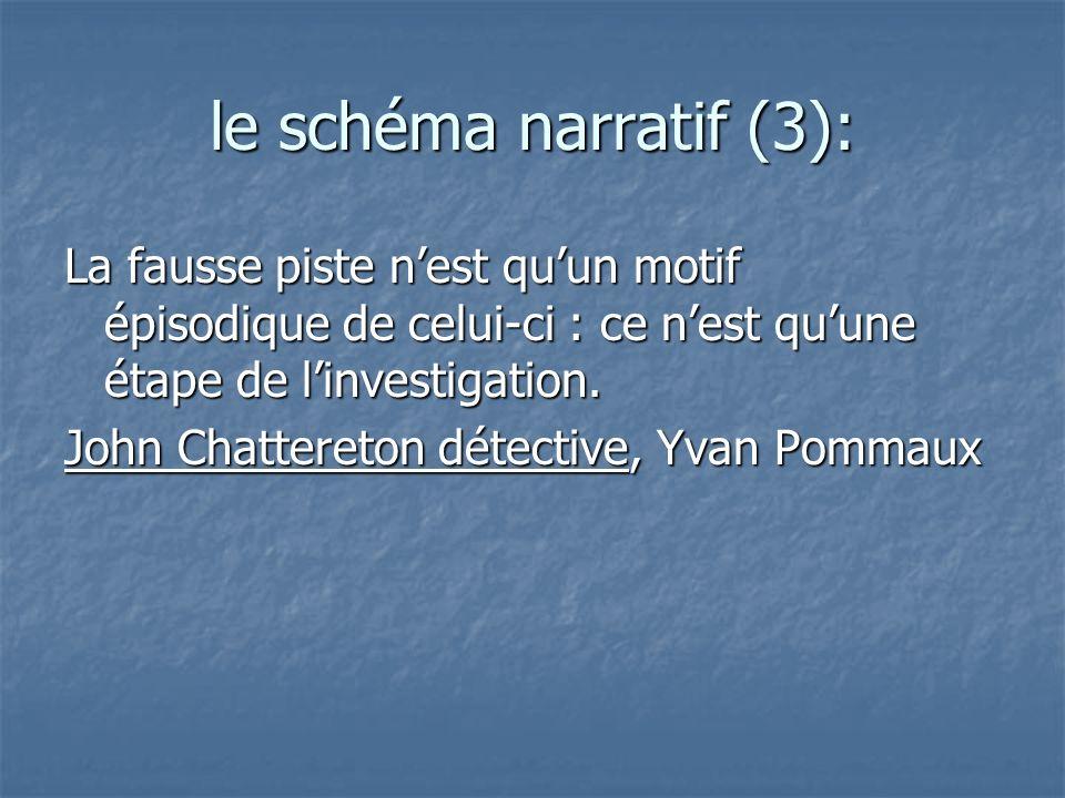 le schéma narratif (3): La fausse piste nest quun motif épisodique de celui-ci : ce nest quune étape de linvestigation. John Chattereton détective, Yv
