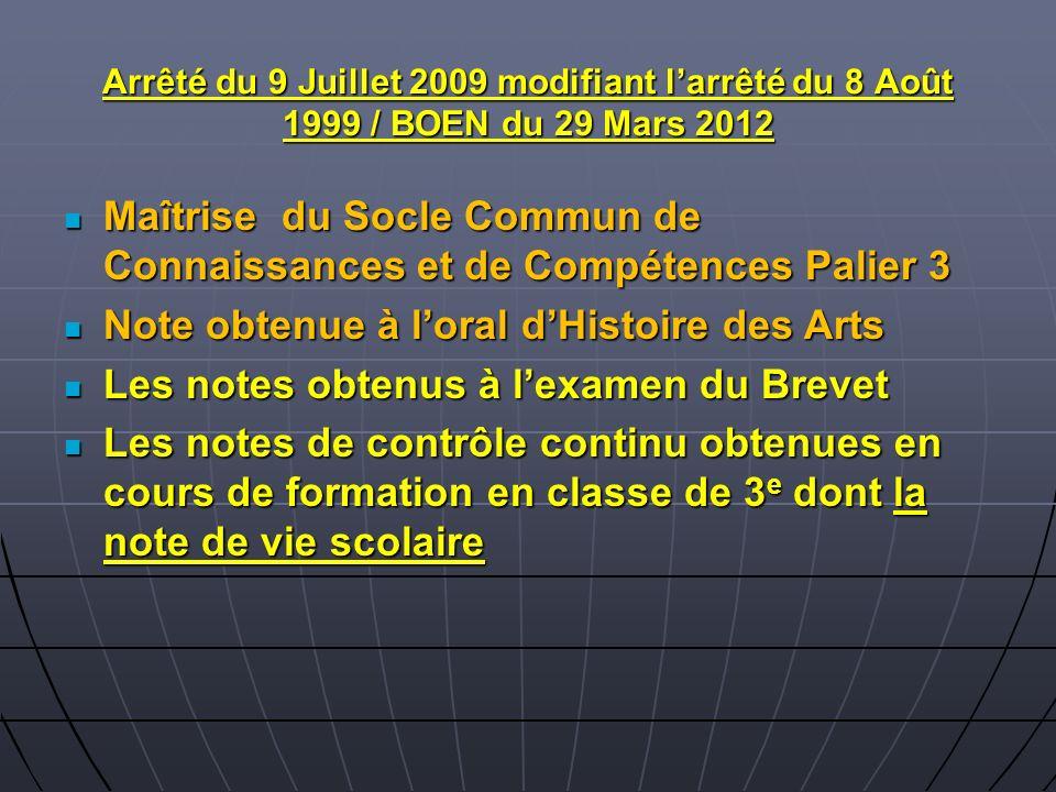 Arrêté du 9 Juillet 2009 modifiant larrêté du 8 Août 1999 / BOEN du 29 Mars 2012 Maîtrise du Socle Commun de Connaissances et de Compétences Palier 3