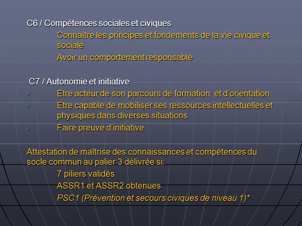 C6 / Compétences sociales et civiques Connaître les principes et fondements de la vie civique et sociale Avoir un comportement responsable C7 / Autono