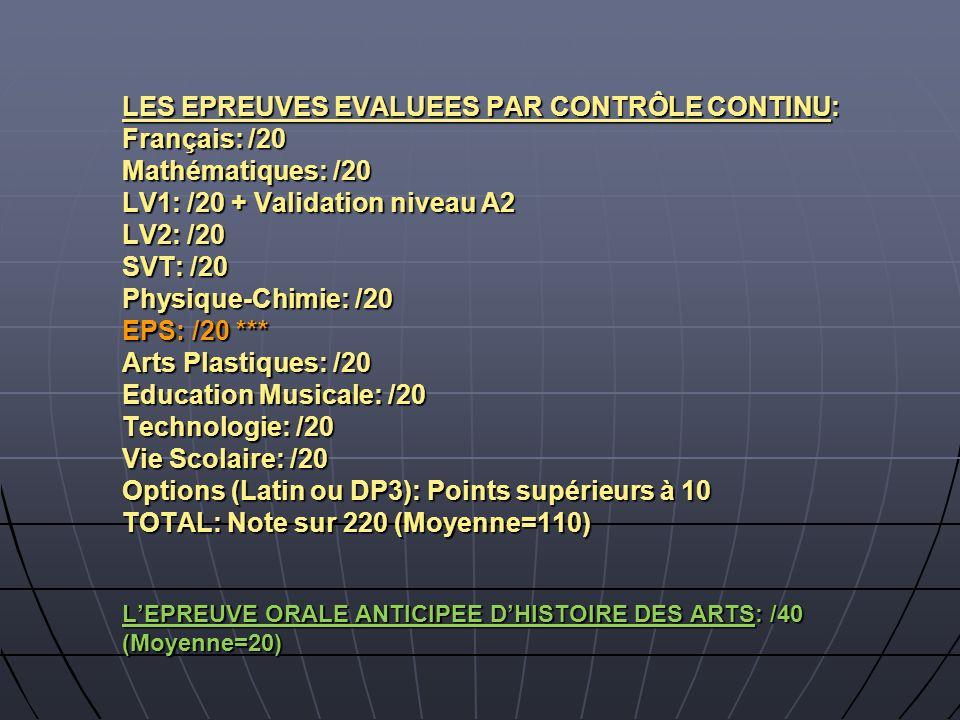 LES EPREUVES EVALUEES PAR CONTRÔLE CONTINU: Français: /20 Mathématiques: /20 LV1: /20 + Validation niveau A2 LV2: /20 SVT: /20 Physique-Chimie: /20 EP