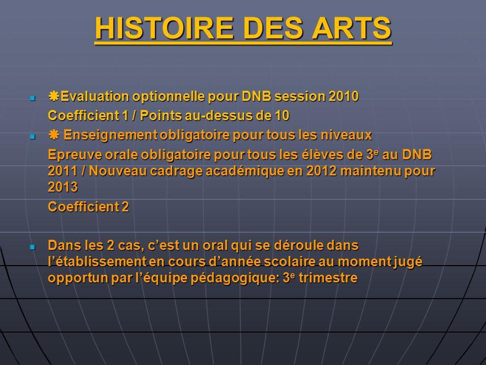 HISTOIRE DES ARTS Evaluation optionnelle pour DNB session 2010 Evaluation optionnelle pour DNB session 2010 Coefficient 1 / Points au-dessus de 10 Ens