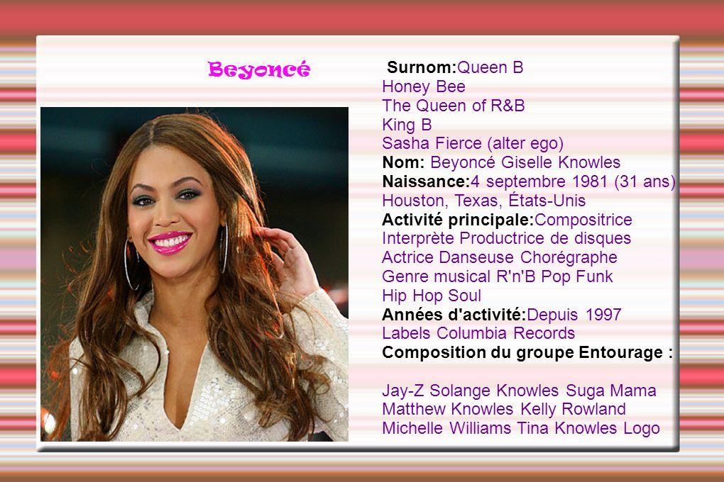 Beyoncé Surnom:Queen B Honey Bee The Queen of R&B King B Sasha Fierce (alter ego) Nom: Beyoncé Giselle Knowles Naissance:4 septembre 1981 (31 ans) Hou