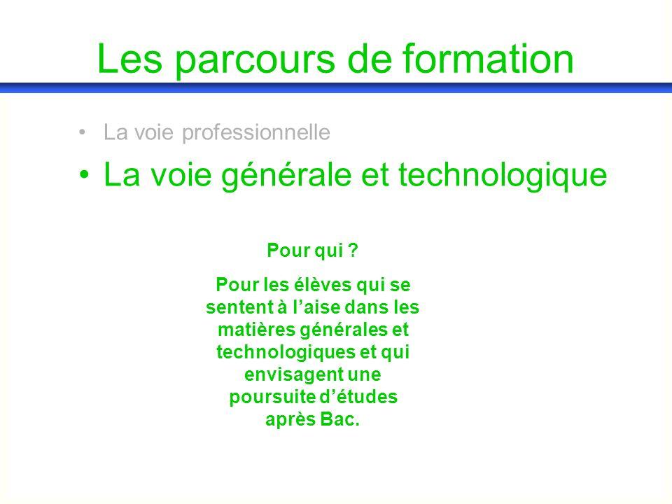 Les parcours de formation La voie professionnelle La voie générale et technologique Pour qui ? Pour les élèves qui se sentent à laise dans les matière